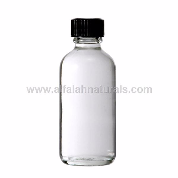 Picture of Boston Round 2 oz Clear Glass Bottles With Poly Cone Lined Black Caps
