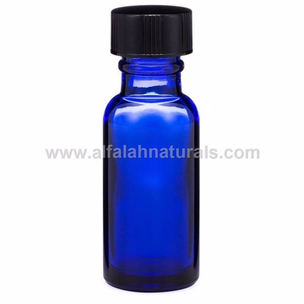 Picture of Boston Round 1/2 oz Cobalt Blue Glass Bottles With Poly Cone Lined Black Caps