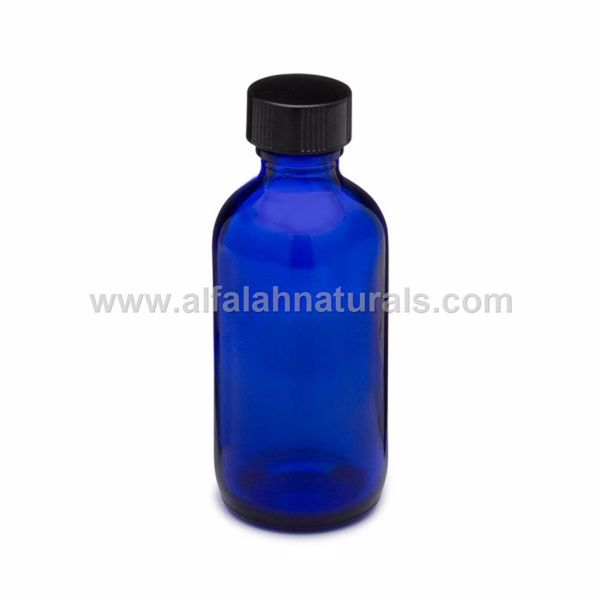 Picture of Boston Round 2 oz Cobalt Blue Glass Bottles With Poly Cone Lined Black Caps