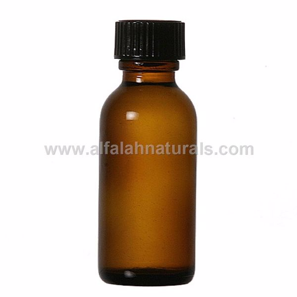 Picture of Boston Round 1 oz Amber Glass Bottles With Poly Cone Lined Black Caps