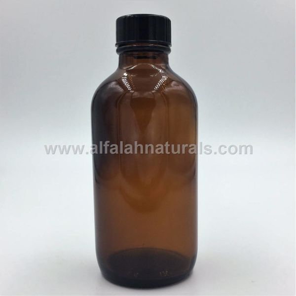 Picture of Boston Round 4 oz Amber Glass Bottles With Poly Cone Lined Black Caps