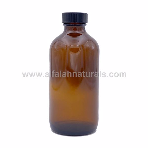 Picture of Boston Round 8 oz Amber Glass Bottles With Poly Cone Lined Black Caps